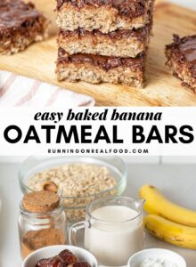Pinterest graphic with an image and text for baked banana oatmeal bars.