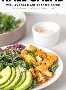 Pinterest graphic with an image and text for a buffalo cauliflower kale salad.