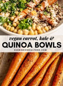 Pinterest graphic with an image and text for kale, carrot and quinoa bowls.