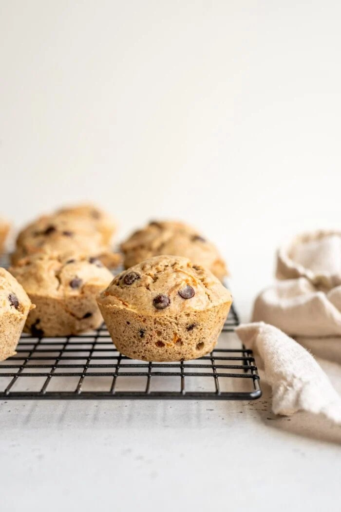 Chocolate chip muffins on a cooling rack.