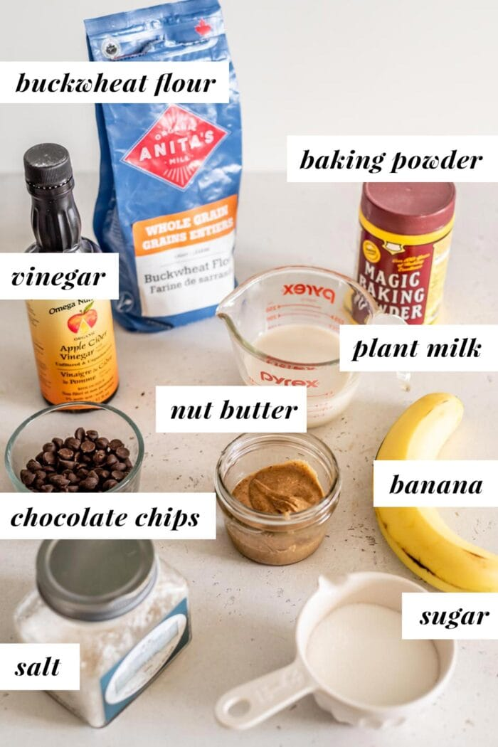 Labelled ingredients for vegan buckwheat muffins.