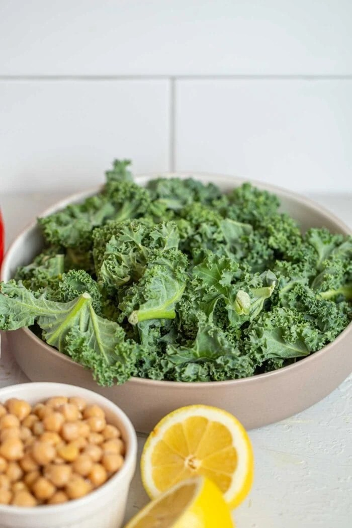 Finely chopped raw kale in a bowl.