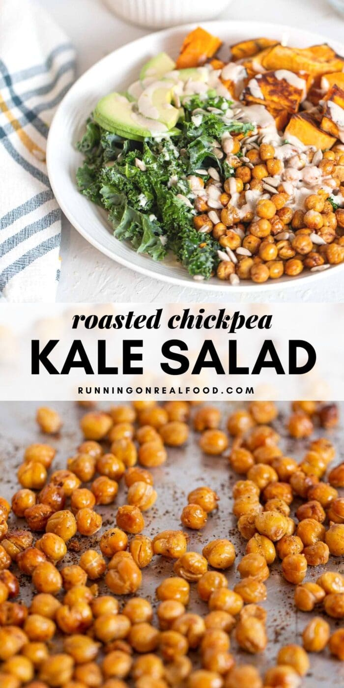 Pinterest graphic with an image and text for a roasted chickpea kale salad.