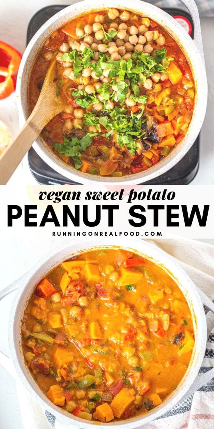 Pinterest graphic with an image and text sweet potato peanut stew.