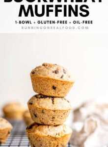 Pinterest graphic with an image and text for vegan buckwheat muffins.