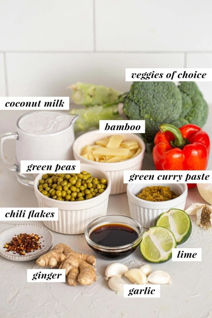 Labelled ingredients for a green curry recipe.