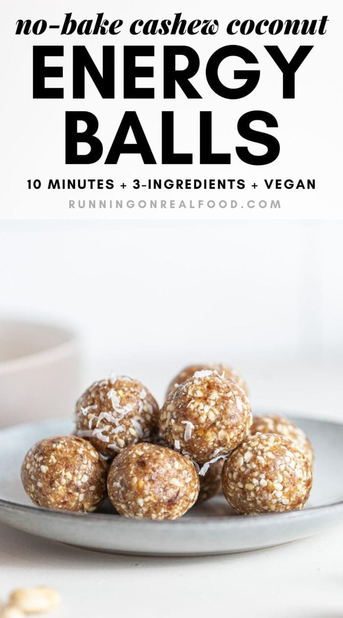 Pinterest graphic with an image and text for cashew coconut balls.