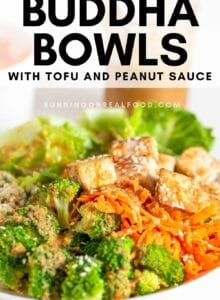 Pinterest graphic with an image and text for coconut cauliflower rice buddha bowls.