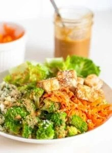 A bowl with carrot, tofu, broccoli, cauliflower rice, tofu and peanut sauce.