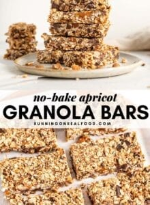 Pinterest graphic with an image and text for apricot granola bars.