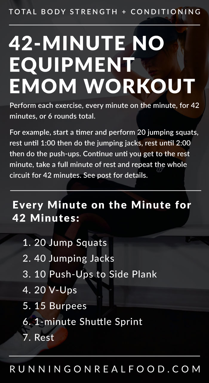 Written text workout details for a 42-minute EMOM workouts.