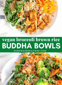 Pinterest graphic with an image and text for broccoli brown rice bowls.