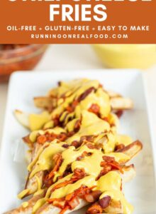 Pinterest graphic with an image and text for chili cheese fries.