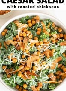 Pinterest graphic with an image and text for a kale caesar salad recipe.