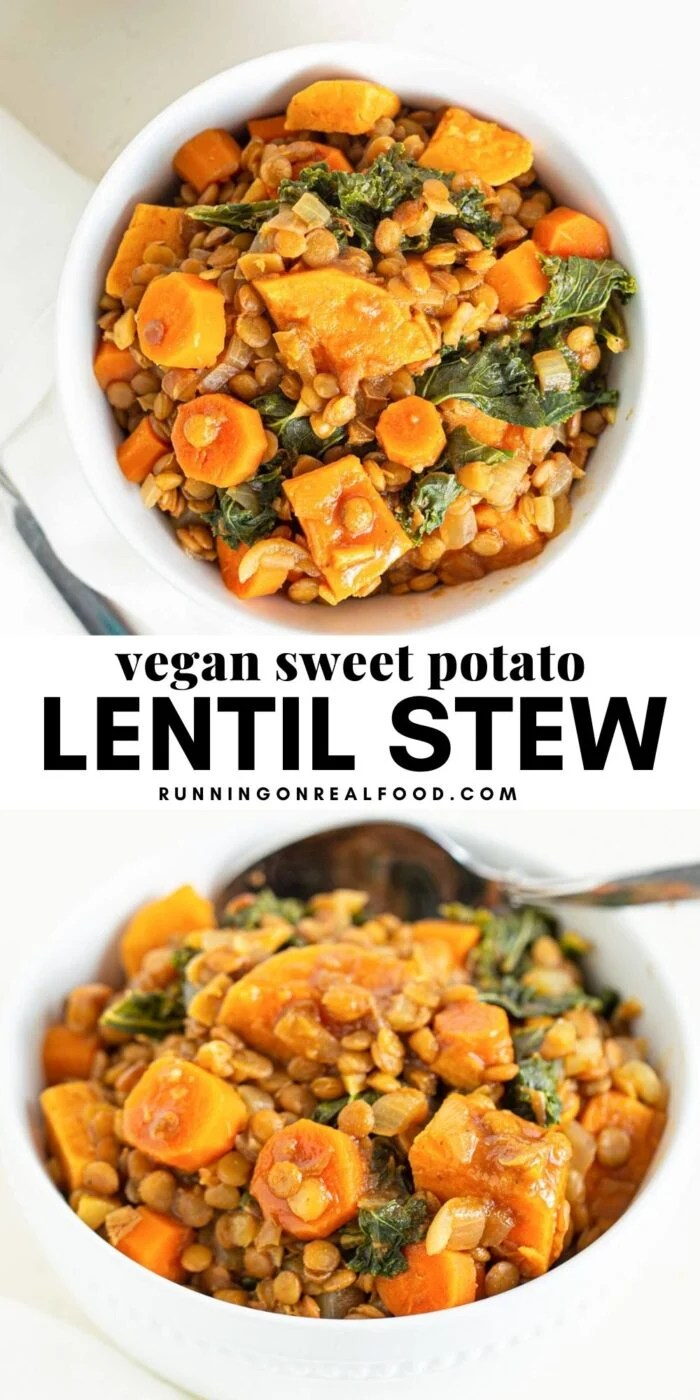 Pinterest graphic with an image and text for vegan sweet potato lentil stew.