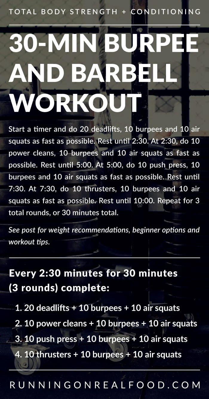 Written details for a 30-minute barbell and burpee workout.