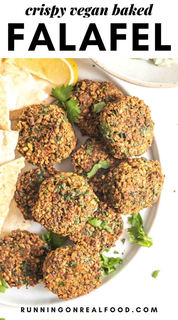 Pinterest graphic with an image and text for baked falafel.