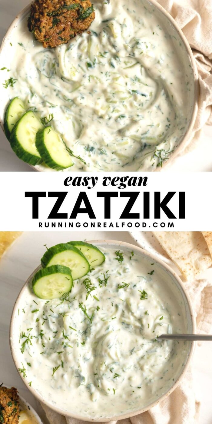 Pinterest graphic with an image and text for tzatziki.