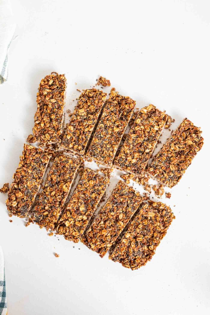 8 slices of chocolate oat bars with chia seeds.