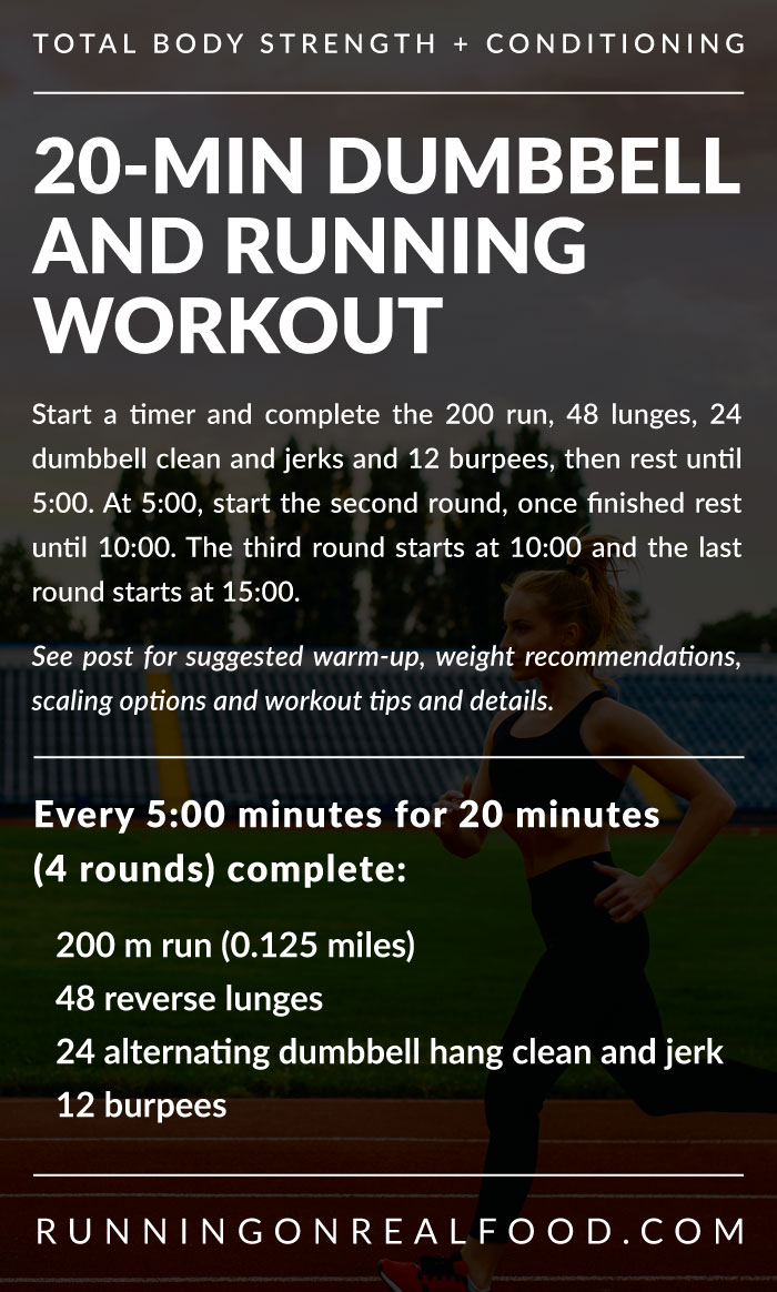 Workout details for a 20-minute running and dumbbell workout.