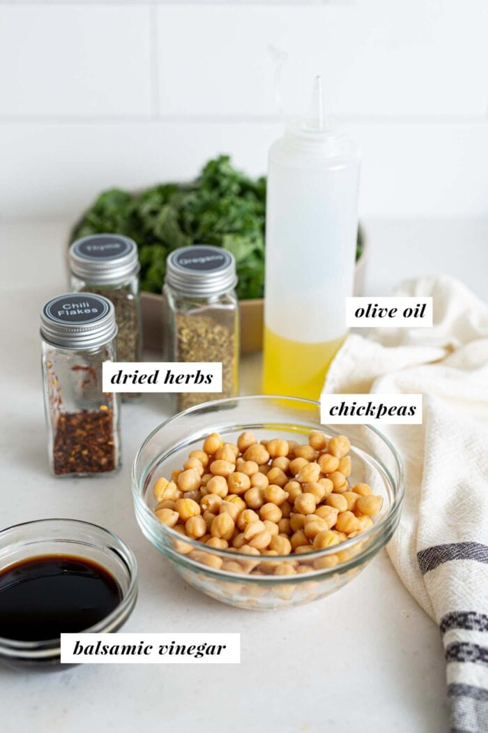 Chickpeas, containers of herbs, oil and balsa