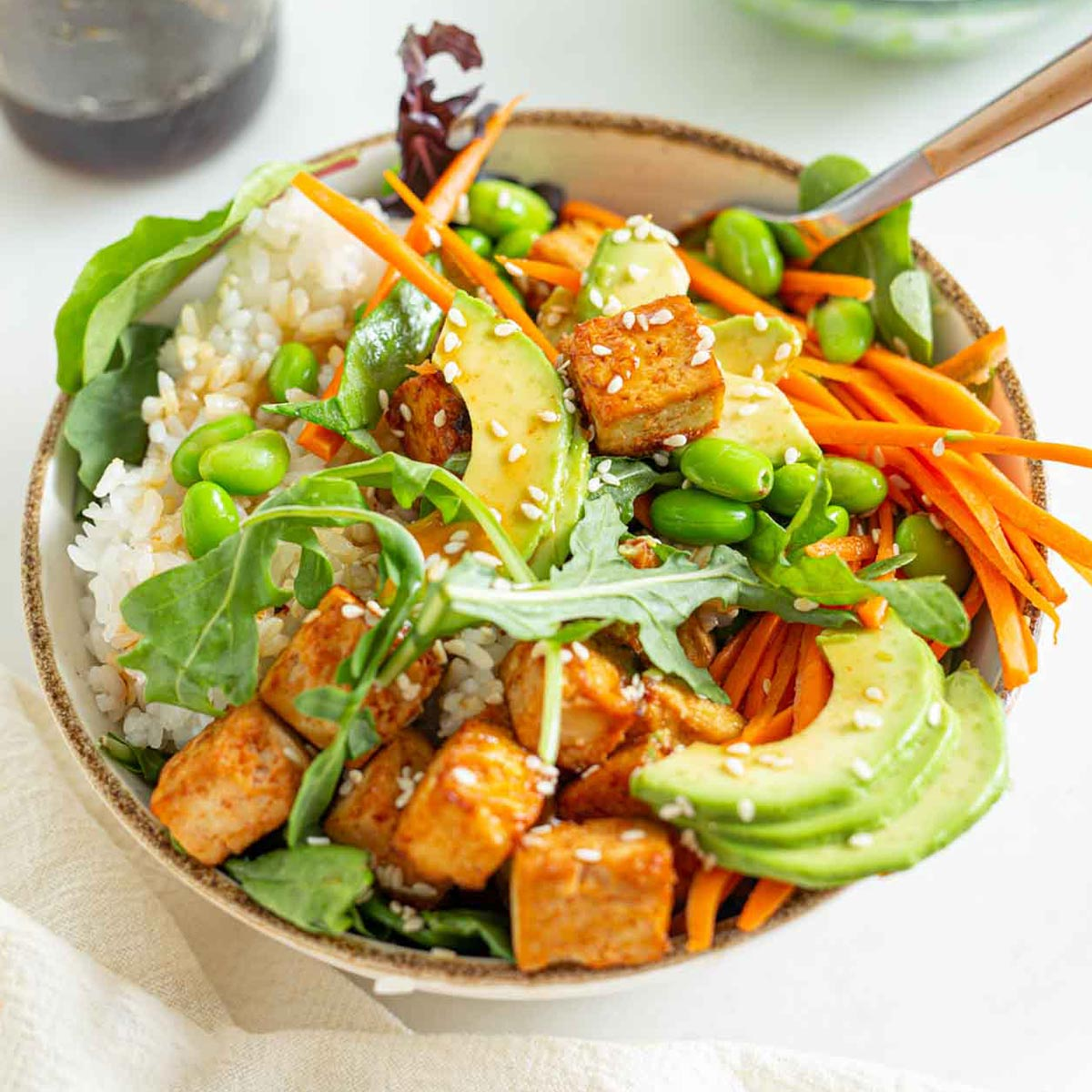 Sriracha Baked Tofu Rice Bowls Running On Real Food