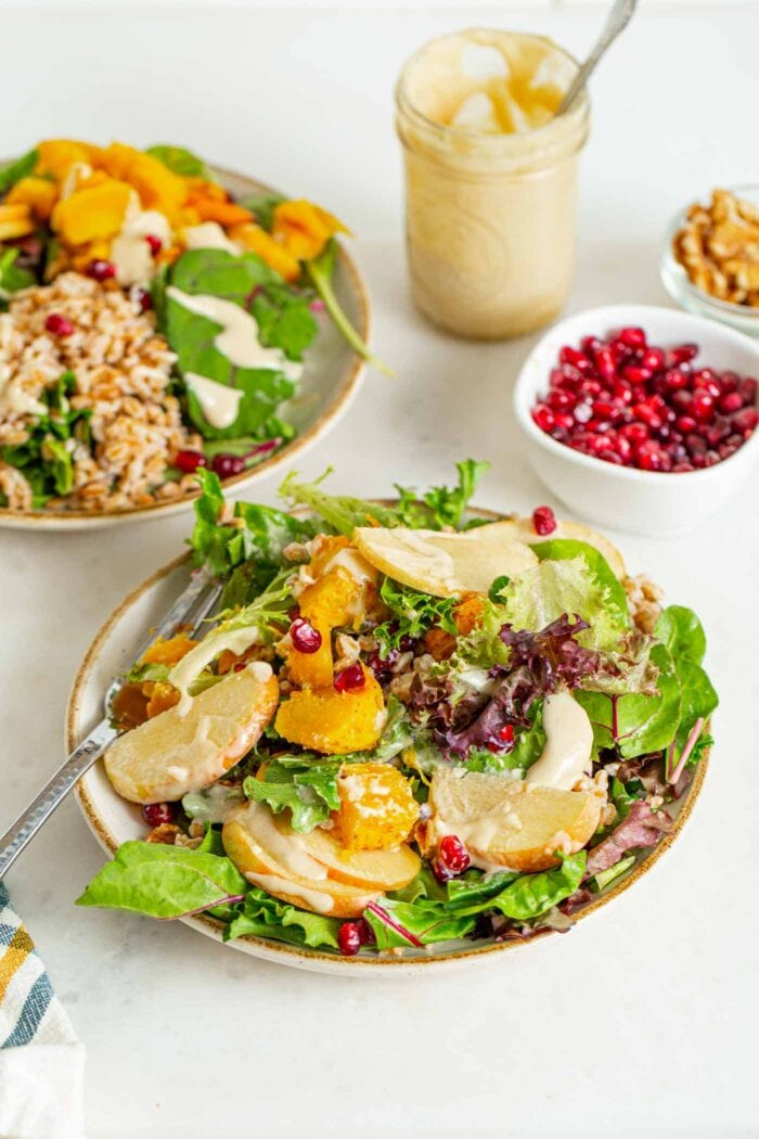Two bowls of green salad with apple, walnuts, tahini sauce, squash and farro.