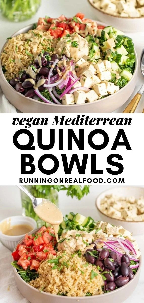 Pinterest graphic with an image and text for Mediterranean quinoa bowls.