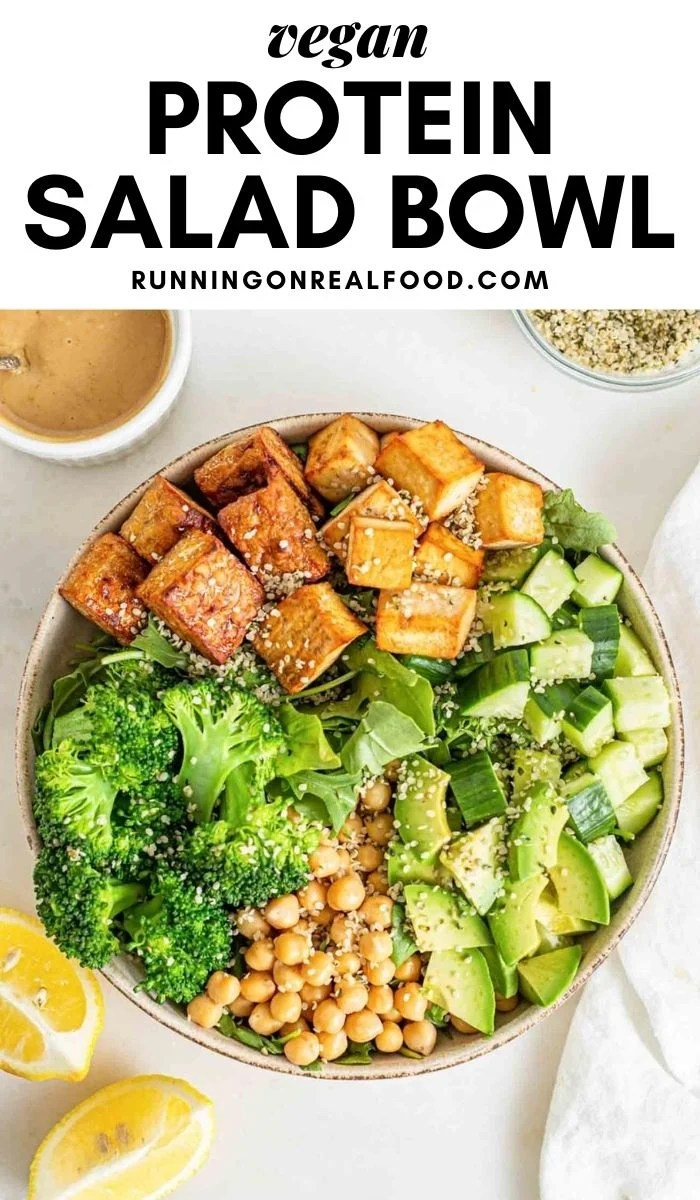 Pinterest graphic with an image and text for vegan protein salad.