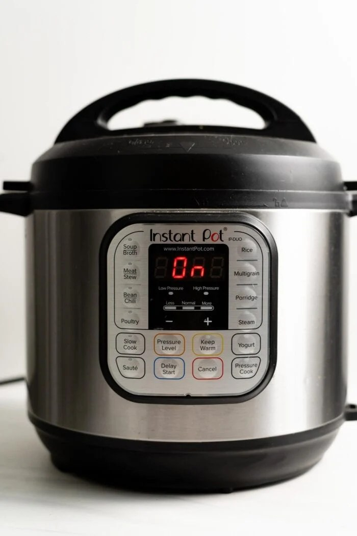 """An Instant Pot reading """"On"""" on the display panel."""