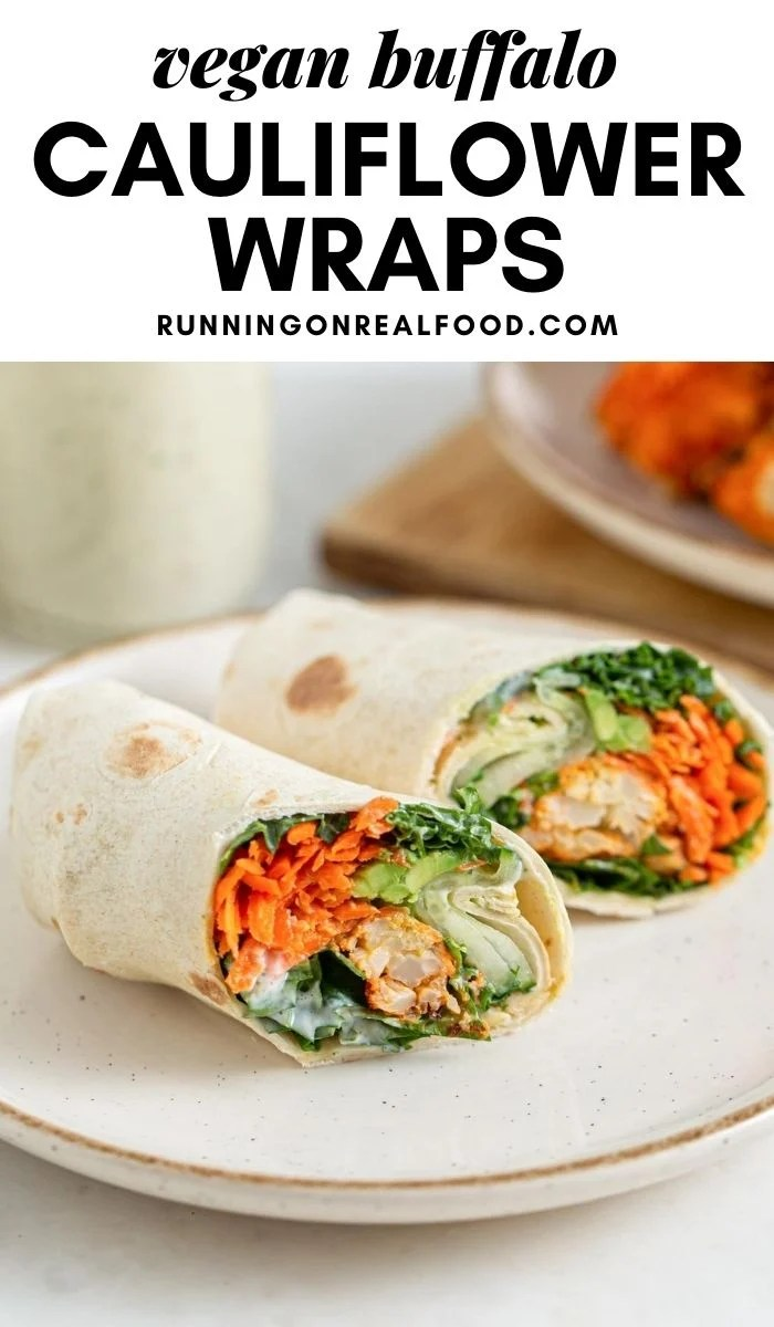 Pinterest graphic with an image and text for buffalo cauliflower wraps.