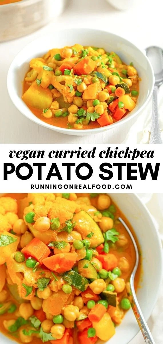 Pinterest graphic with an image and text for curried chickpea potato stew.