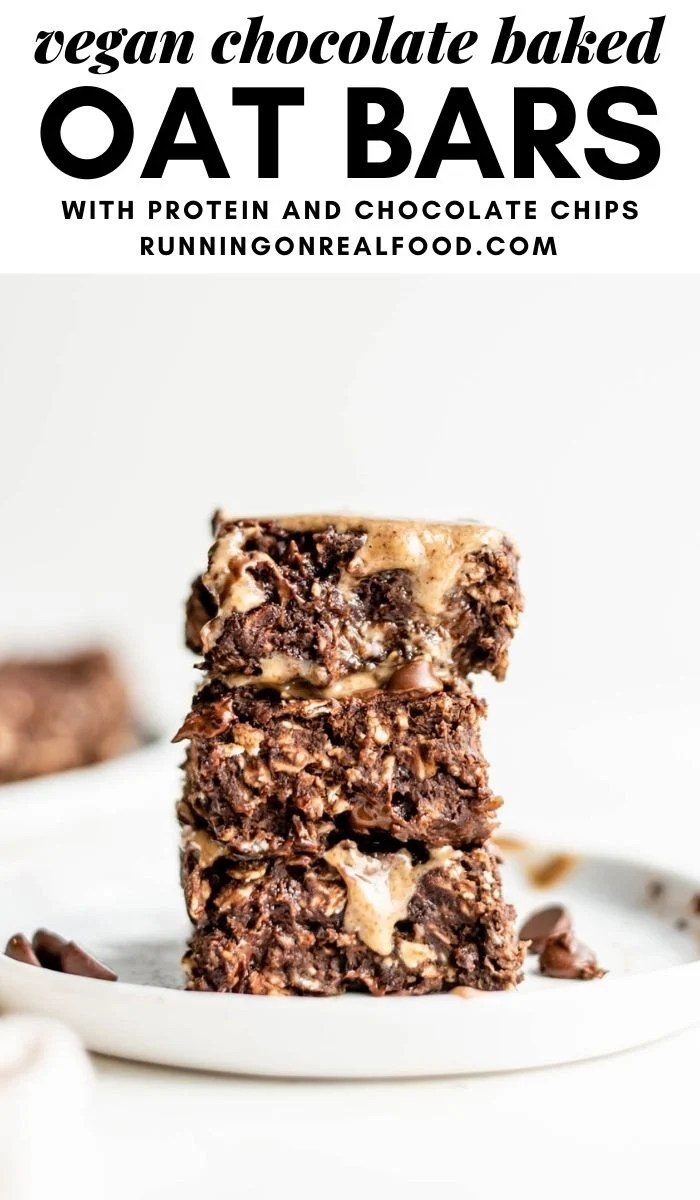 Pinterest graphic with an image and text for chocolate baked oatmeal bars.