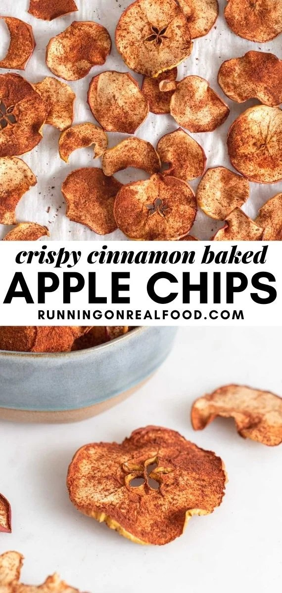 Pinterest graphic with an image and text for cinnamon baked apple chips.
