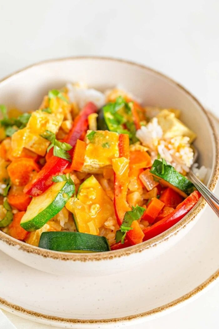 Close up of a bowl of vegetable tofu curry over rice.