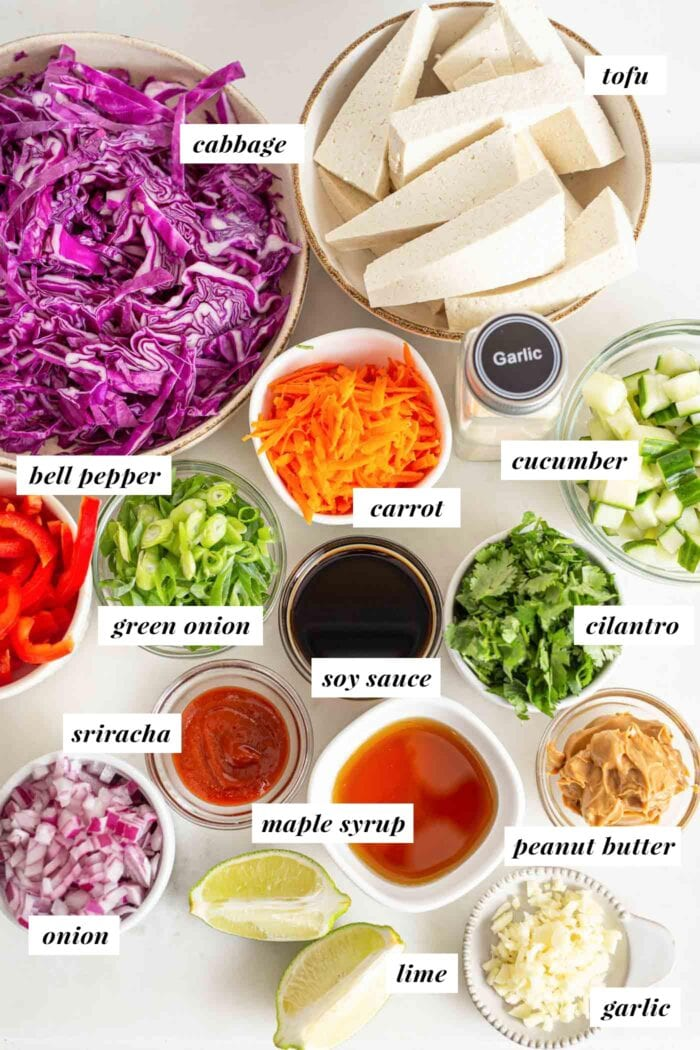 Labelled ingredients for a Thai chopped salad with tofu and rice.