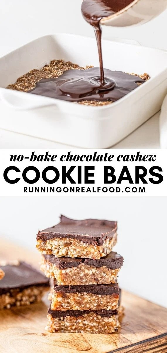 Pinterest graphic with an image and text for no-bake chocolate cashew cookie dough bars.