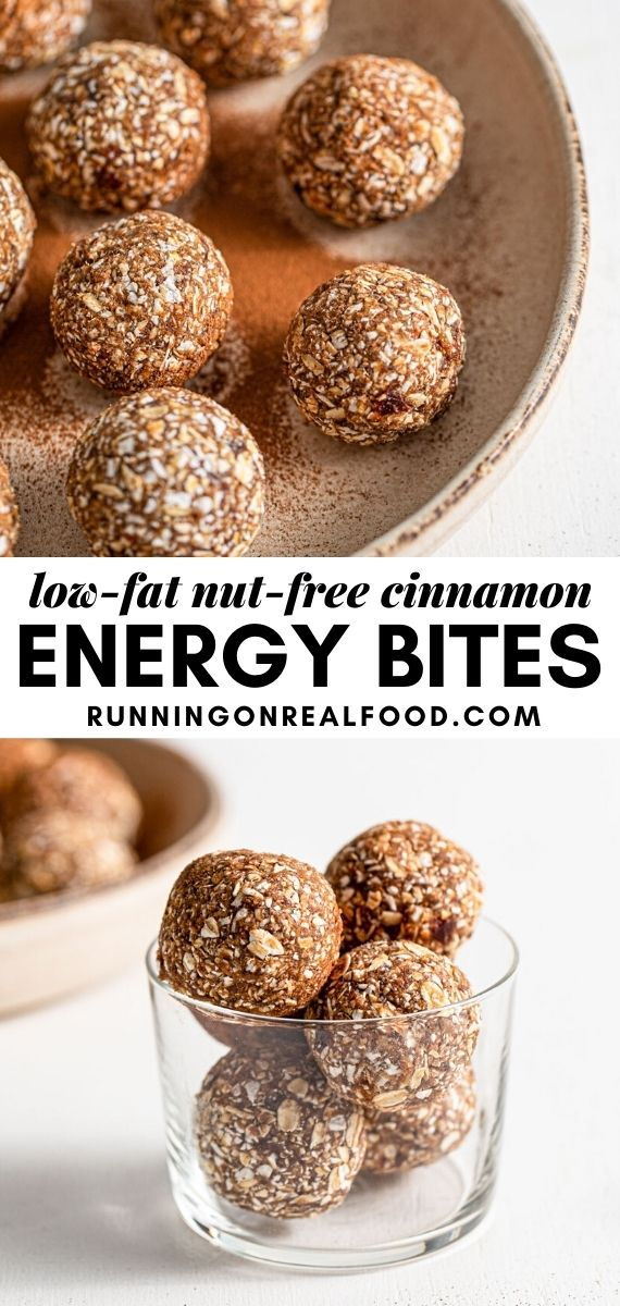 Pinterest graphic with an image and text for cinnamon energy balls.