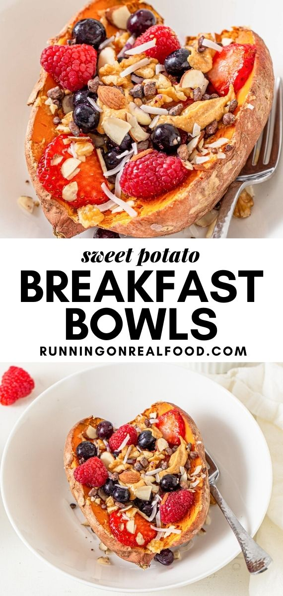 Pinterest graphic with an image and text for sweet potato breakfast bowls.