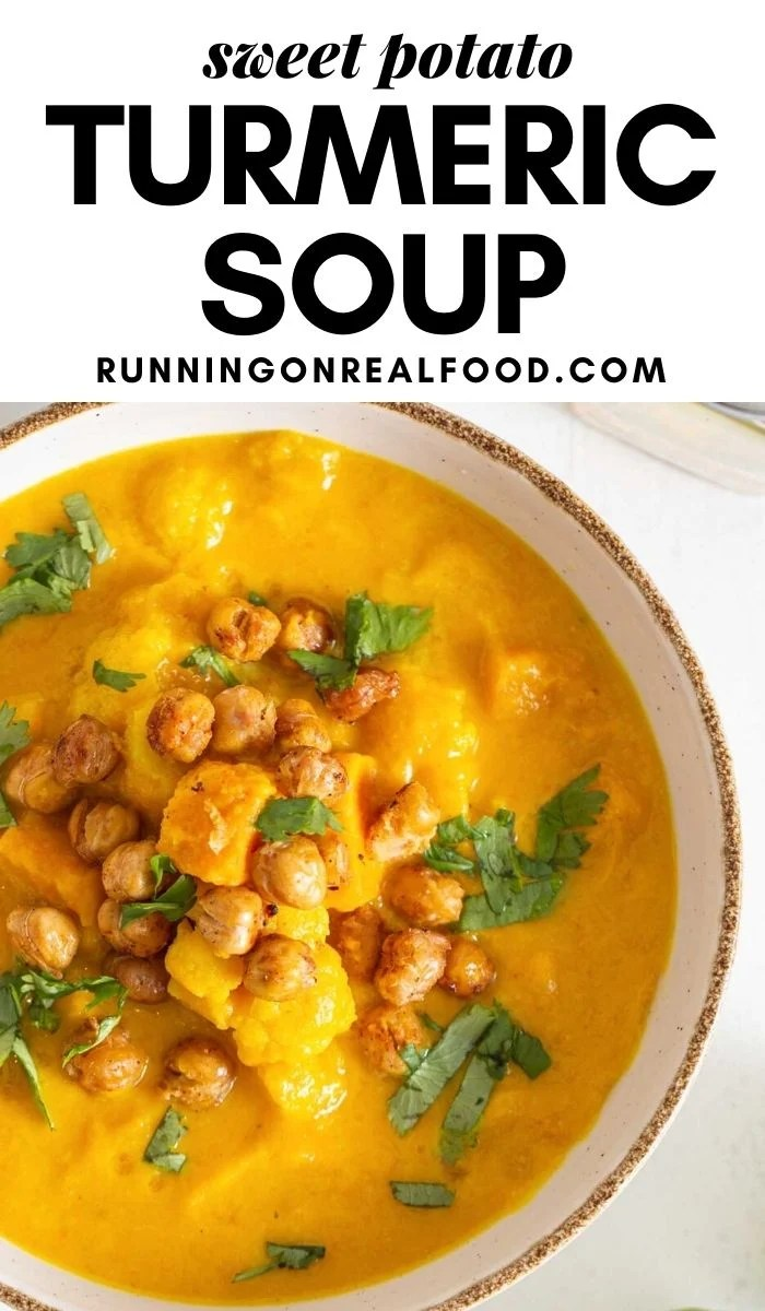 Pinterest graphic with an image and text for cauliflower sweet potato soup.