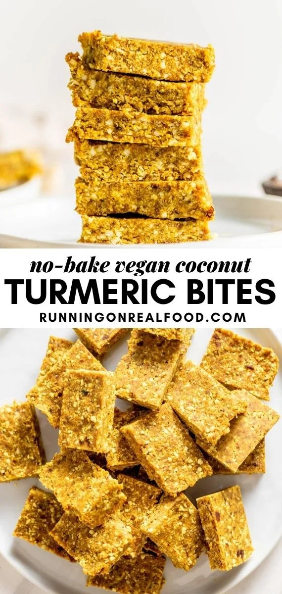 Pinterest graphic with an image and text for no-bake coconut turmeric bites.