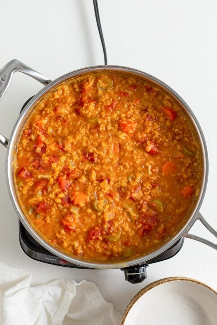 Overhead view of a pot of red lentil soup.