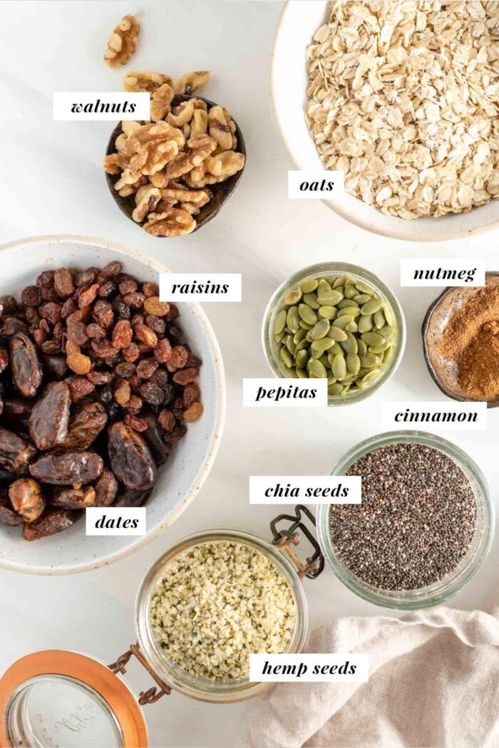 Labelled ingredients for making energy bars.