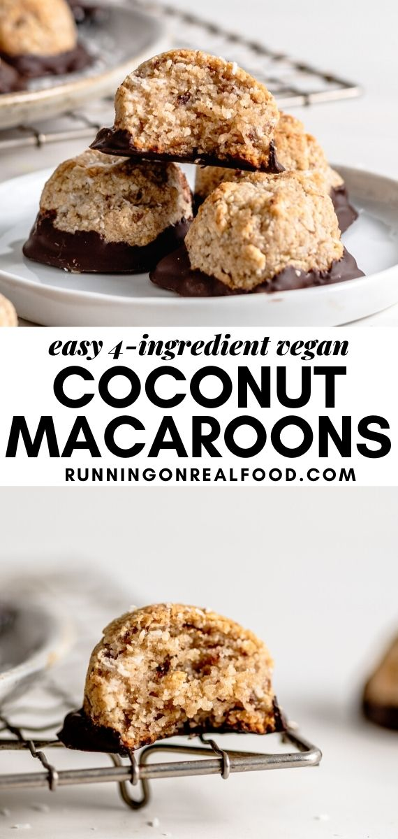 Pinterest graphic with an image and text for coconut macaroons.