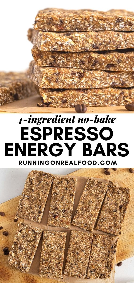 Pinterest graphic with an image and text for no-bake vanilla espresso energy bars.