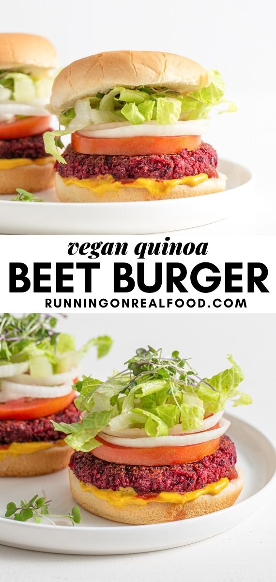 Pinterest graphic with image and text for beet quinoa burgers.
