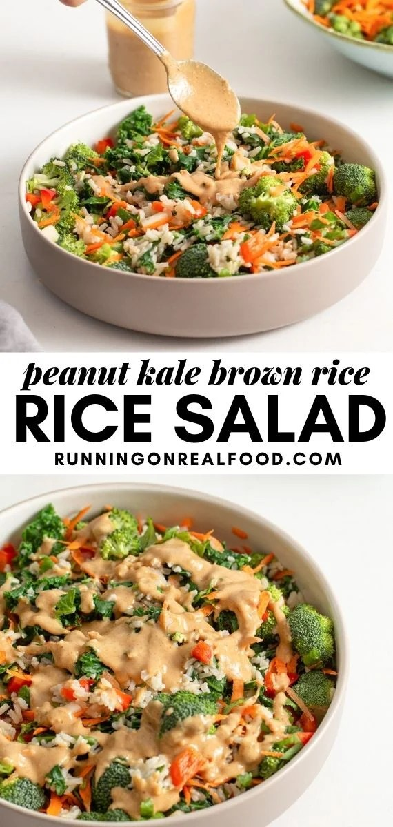 Pinterest graphic with an image and text for brown rice peanut salad.