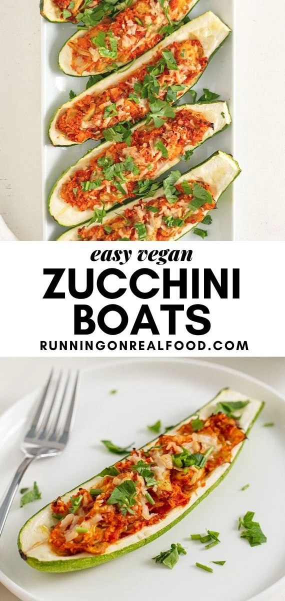 Pinterest graphic with an image and text for twice baked stuffed zucchini boats.