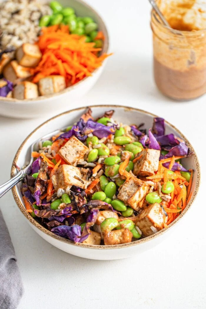 Colourful bowl of rice, tofu, edamame, cabbage and grated carrot.