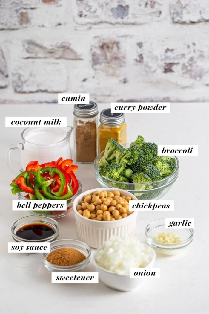 Ingredients for making a chickpea curry recipe, labelled with text overlay.